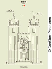 Porto Cathedral, Portugal. Landmark icon in linear style