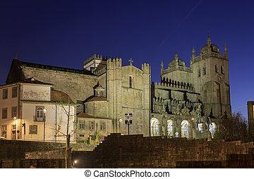 Porto cathedral with illumination at night