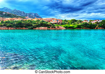 Porto Cervo shore on a cloudy day in hdr