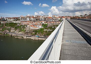 porto, cityscape, de, infante, puente