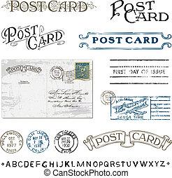 porto, clipart, postkaart, postzegels, vector, retro