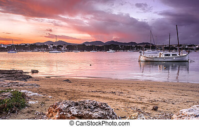 porto colom bay in majorca - porto colom bay in balearic...