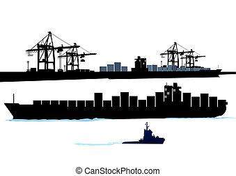 porto, com, navio recipiente