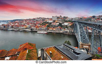 porto, -, coucher soleil, portugal