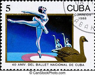 porto, cubaanse , postzegel, ballet, verjaardag viering