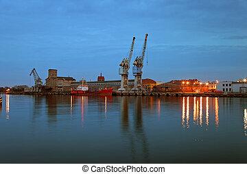 porto, de, gdansk, em, anoitecer