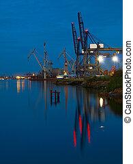 porto, de, gdynia, em, night.