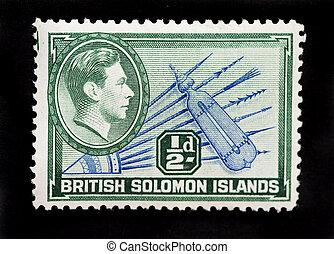 porto, definitive, briefmarke, kolonie, ausstellung, -, britisch, solomon, commonwealtth, posten, inseln, 1939, zirka, stammes-, gebürtig