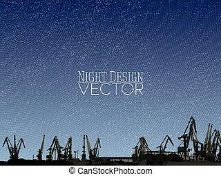 porto, estaleiro, ilustração, vetorial, desenho, noturna, skyline