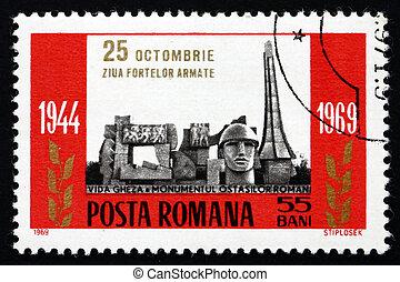 porto frimærke, romania, 1960, bevæbne fremtvinge,...