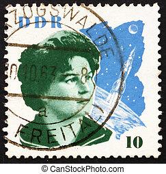 porto, gdr, utrymme, stämpel, valentina, tereshkova, 1963, ...