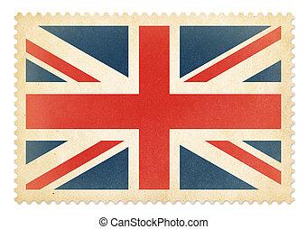 porto, groß, briefmarke, britannien, isolated., fahne,...
