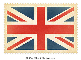porto, groot, postzegel, groot-brittannië, isolated., vlag,...