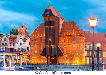 porto, guindaste, e, cidade, portão, zuraw, gdansk, polônia