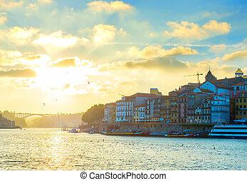 porto, horizon, coucher soleil, portugal
