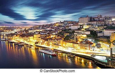 porto, horizon, nuit, portugal