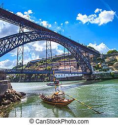 porto, horizon, oporto, portugal, rivière, douro, fer, ...