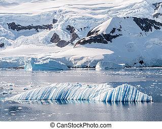 porto, iceberg, drifting, península, andvord, água, antártica, sculpted, neko, antárctico, baía, vento