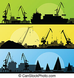 porto , industrieller transport, abbildung, schiffe, vektor...