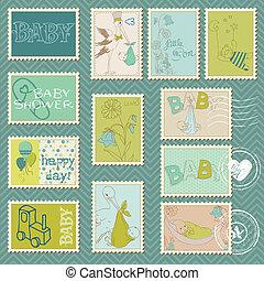 porto, jongen, felicitatie, aankondiging, -, aankomst, postzegels, baby