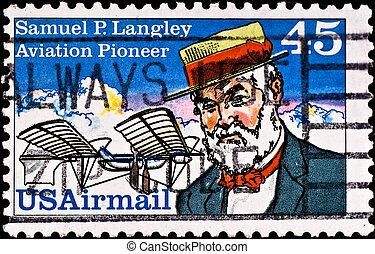 porto, langley, briefmarke, samuel, 1980\', pionier,...