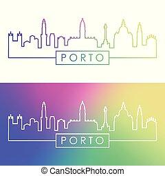 porto, linéaire, coloré, ville, skyline., style.