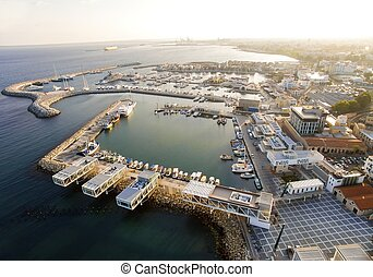 porto, luchtopnames, limassol, oud, cyprus, aanzicht