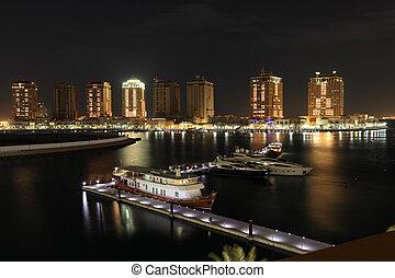 porto, medio, doha, puerto deportivo, arabia, este, night.,...