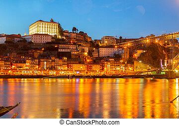 porto, nuit, portugal, scène