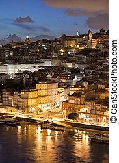 porto, nuit, portugal, ville