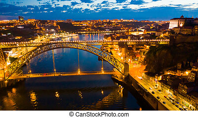 porto, nuit, vue, portugal
