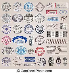 porto, ouderwetse , postzegels, vector, set