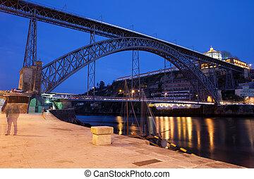 porto, pont, luis, nuit, dom