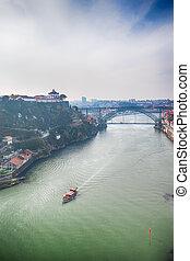 porto, portugal, día, tradicional, puentes, turista, barco, ...