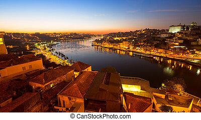 porto, portugal., nuit, douro, rivière, vue