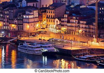 porto, portugal, nuit
