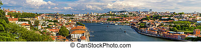 porto, portugal, panorama, -, douro, rivière
