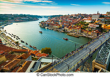 Porto, Portugal: Picturesque view of Riberia old town and Ponte de Dom Luis bridge over Douro river seen from above