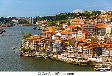 porto, portugal, sur, -, douro, rivière, vue
