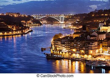 porto, portugal, ville, nuit, douro, rivière