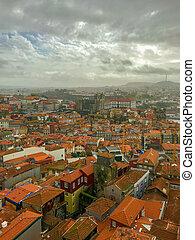 porto, portugalia, malowniczy, panorama, pochmurny dzień, prospekt