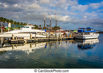 porto, praia, barcos, longo, california.