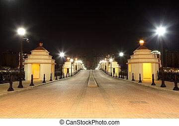porto, puente, doha, medio, arabia, este, night., qatar