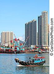 porto, rifiuto, cinese, hong, victoria, tradizionale, pesca,...