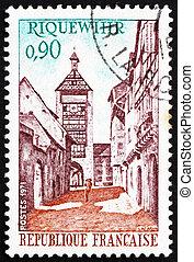 porto, riquewihr, briefmarke, 1971, frankreich, straße, turm