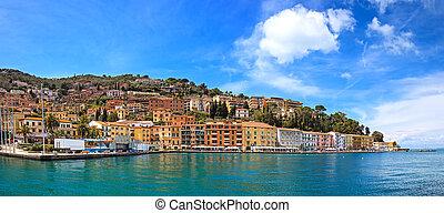 Porto Santo Stefano seafront panorama. Argentario, Tuscany,...
