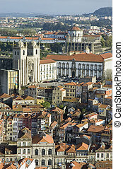 Porto skyline from Clerigos tower, Portugal - Porto skyline...