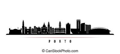 Porto skyline horizontal banner. Black and white silhouette of Porto, Portugal. Vector template for your design.