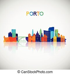 Porto skyline silhouette in colorful geometric style.