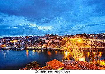 porto, soir, vieille ville, douro, rivière